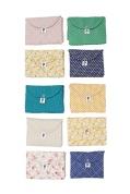 Pochete serviette de lange - coton doublé polaire blanc cassé ou bleu ciel suivant modèle | 24 €
