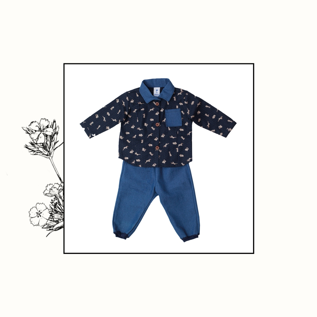 Ensemble chemise lapin + jeans   6mois, 18mois, 3ans   55€